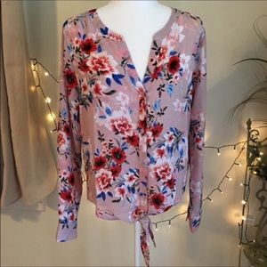 NWT Sanctuary Floral Pink Tie Front Botton Down